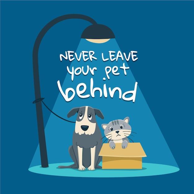 Nunca dejes a tu mascota atrás vector gratuito