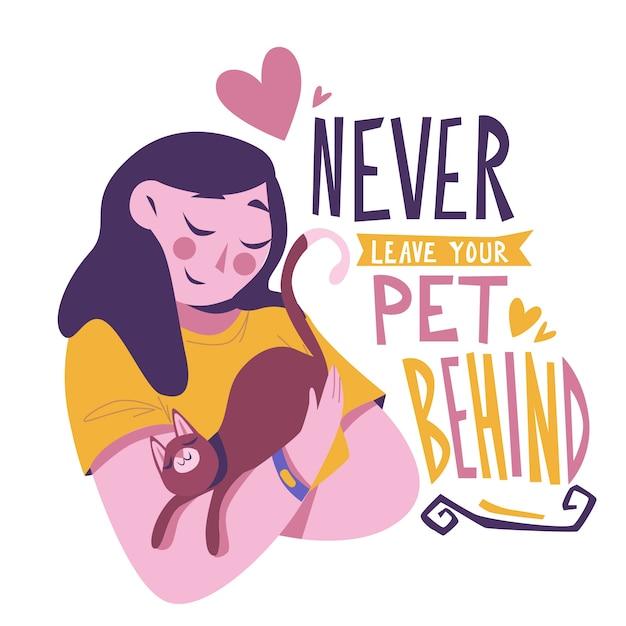Nunca dejes a tu mascota con una mujer y un gato vector gratuito