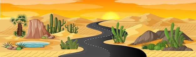 Oasis en el desierto con paisaje de camino largo vector gratuito