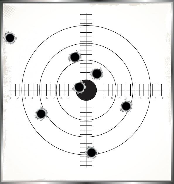 Objetivo con agujeros de bala. Vector Premium