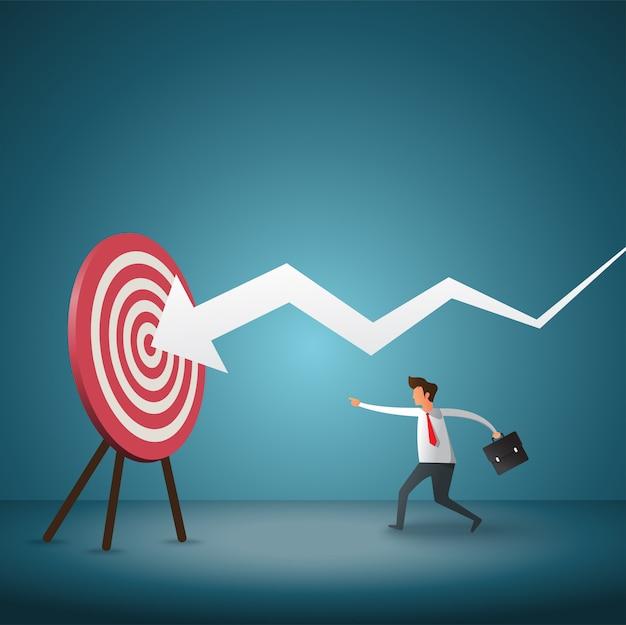 Objetivo comercial y estrategia. empresario lanzando dardos a la flecha. Vector Premium