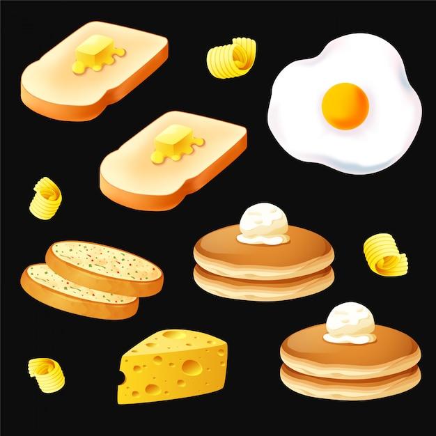 Objeto de desayuno en vector de fondo negro Vector Premium