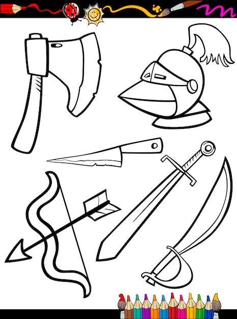 Objetos de armas de dibujos animados para colorear | Descargar ...