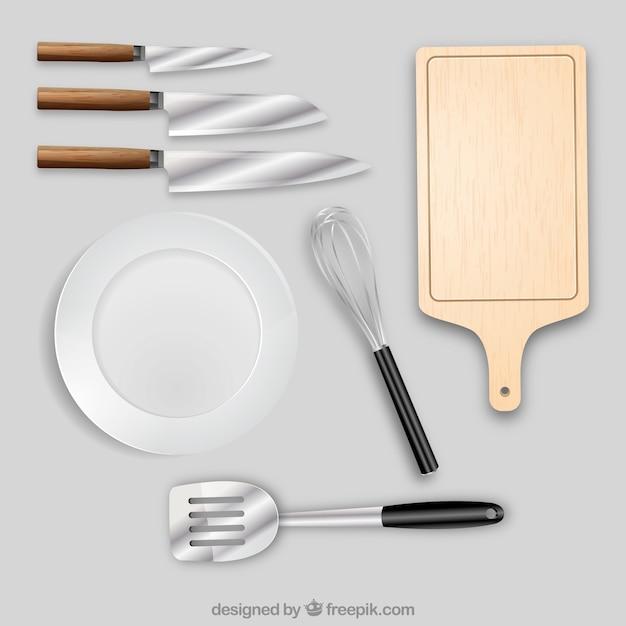Objetos de cocina en estilo realista descargar vectores - Objetos de cocina ...
