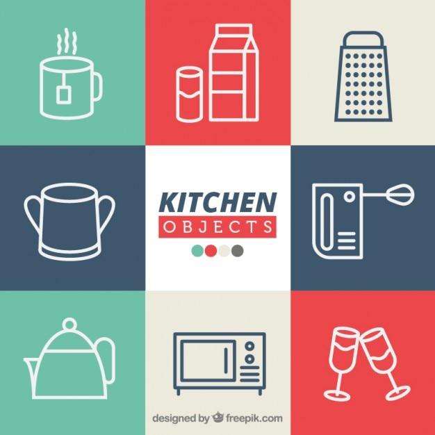 Objetos de cocina descargar vectores premium - Objetos de cocina ...