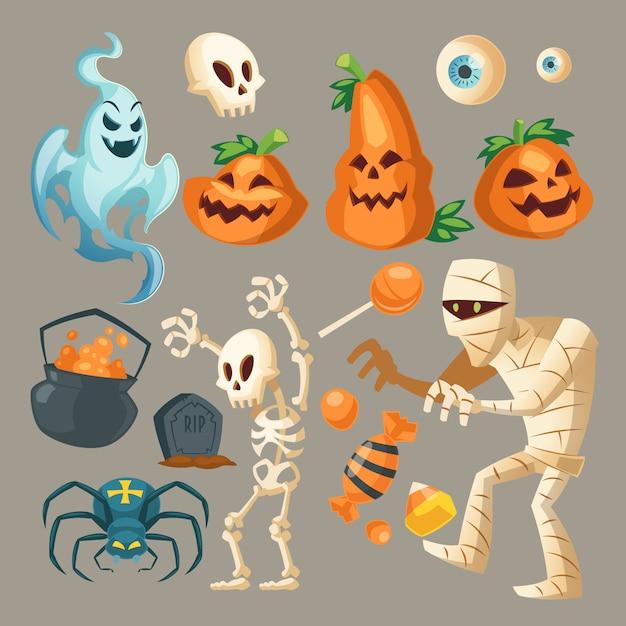 Objetos de halloween - fantasma asustadizo, momia espeluznante y araña oscura. vector gratuito