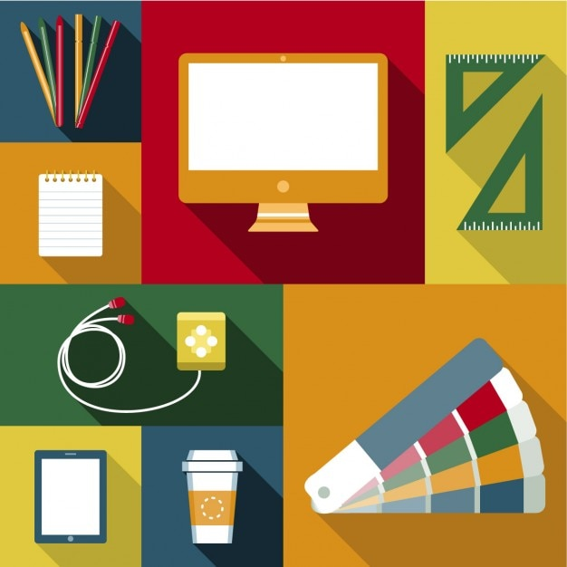 Objetos para el trabajo del dise ador descargar vectores - Disenador de interiores trabajo ...