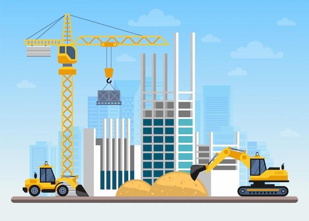 Obra de construcción construcción de una casa con grúas y máquinas. Vector Premium