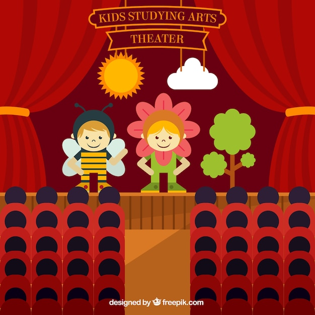 Obra de teatro de niños en diseño plano vector gratuito