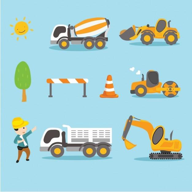 Obrero Con Camiones Y Tractores Vector Gratis