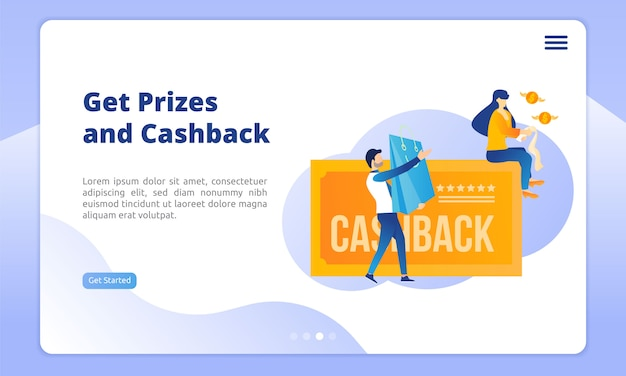 Obtener premios y página de inicio de devolución de dinero Vector Premium