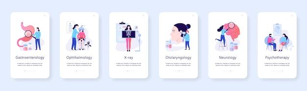 Oculista y radiografía, concepto de banner web móvil de gastroenterología. idea de tratamiento médico en el hospital. ilustración Vector Premium