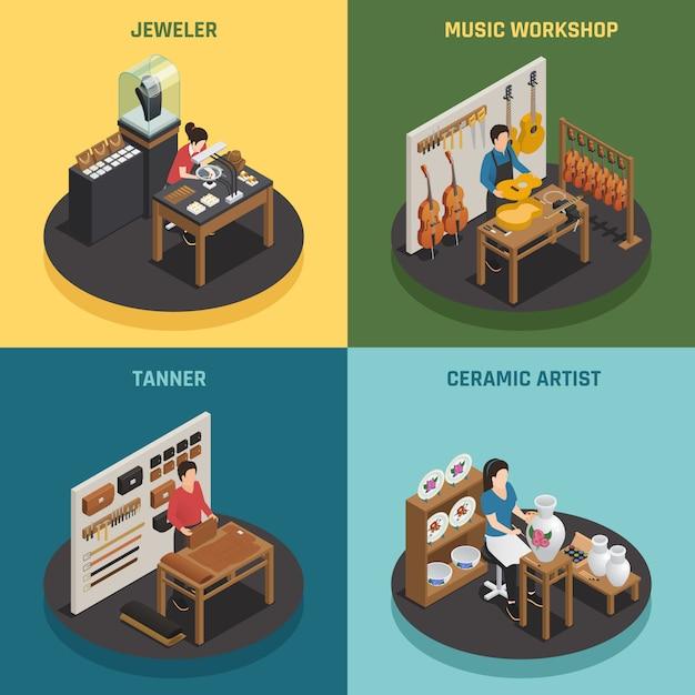Ocupación artesanal 2x2 concepto de diseño vector gratuito