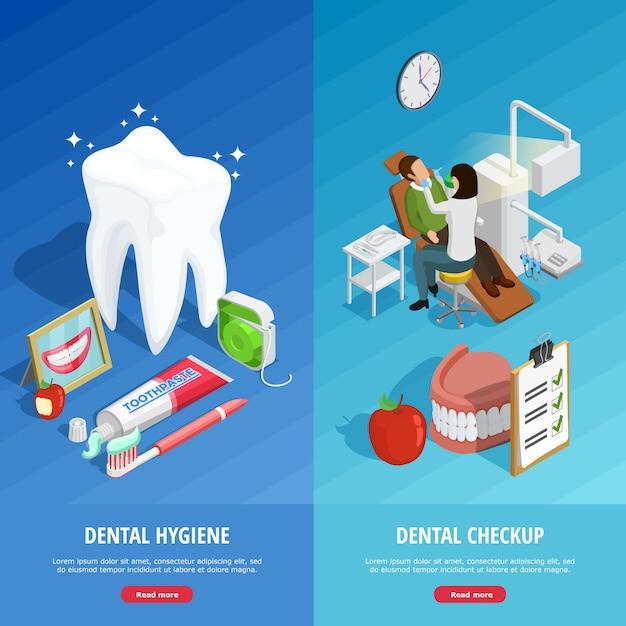 Odontología banners verticales isométricas vector gratuito