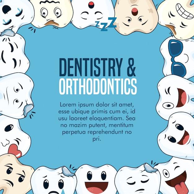 Odontologia medicina cuidado de la salud con equipo de higiene vector gratuito
