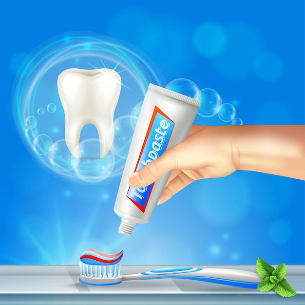 Odontología preventiva cuidado oral composición realista con diente brillante y pasta de dientes apretando a mano en el cepillo de dientes vector gratuito