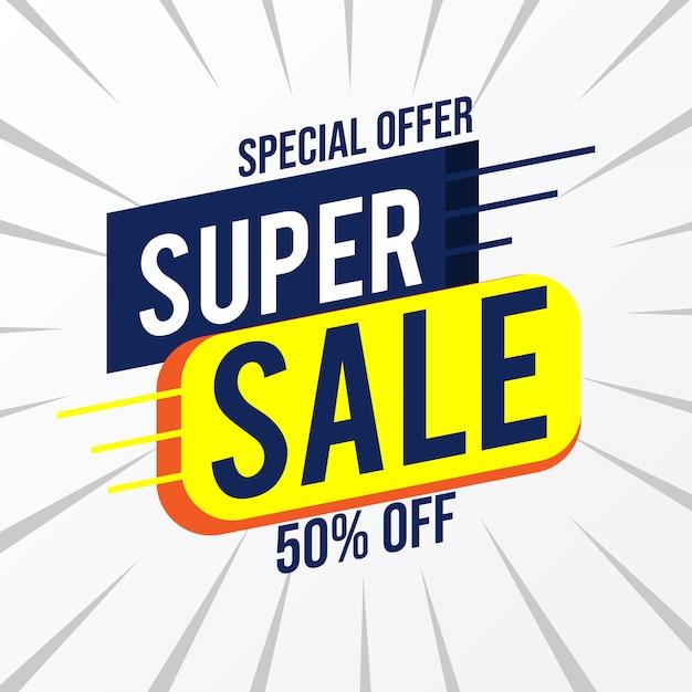 Oferta especial descuento de súper venta hasta un 50% de descuento en la plantilla de marketing de promoción Vector Premium