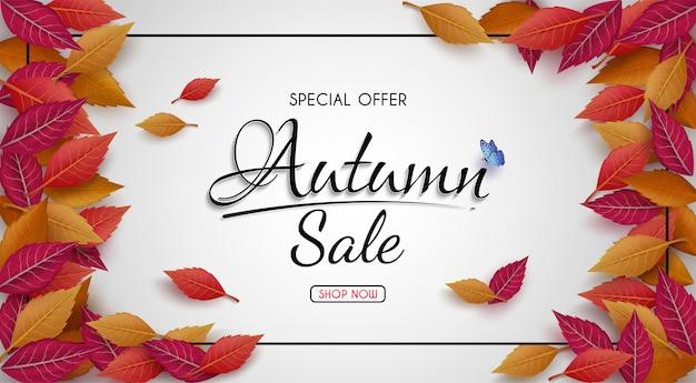 Oferta especial diseño de banner de venta de otoño. con coloridas hojas de otoño estacionales. Vector Premium
