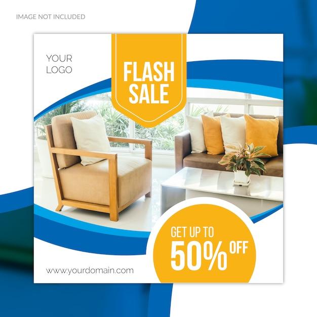 Oferta especial de gran venta de muebles de redes sociales plantilla de banner web Vector Premium