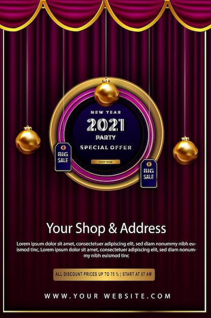 Oferta especial de lujo feliz año nuevo 2021 descuento hasta póster Vector Premium