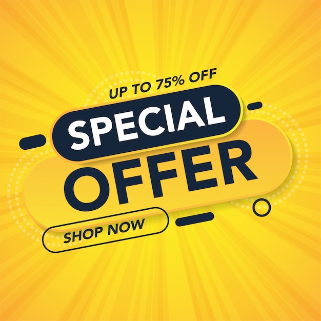 Oferta especial plantilla de banner de promoción de venta Vector Premium