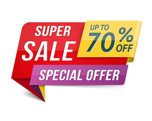 Oferta especial super venta banner, publicidad, diseño de promoción. Vector Premium