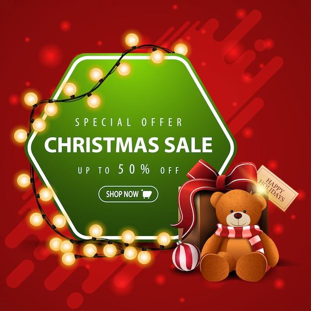 Oferta especial, venta de navidad, pancarta roja y verde cuadrada Vector Premium