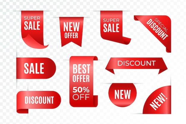 Oferta limitada con etiquetas de ventas realistas rojas Vector Premium