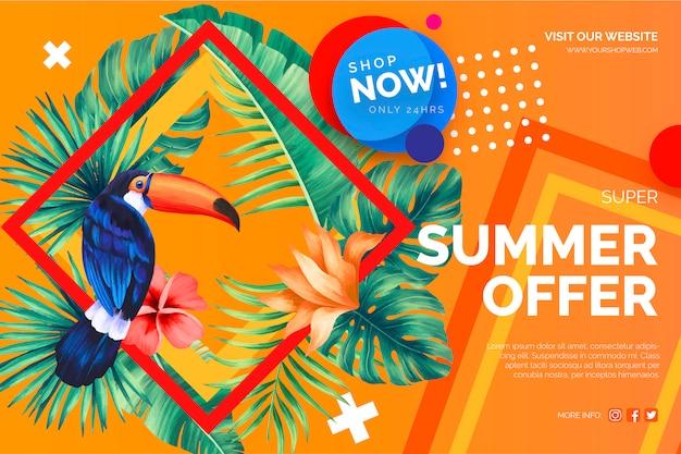 Oferta de venta moderna banner con elementos tropicales vector gratuito