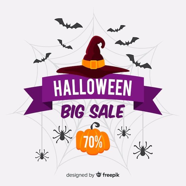 Oferta de venta de sombrero de bruja de halloween vector gratuito