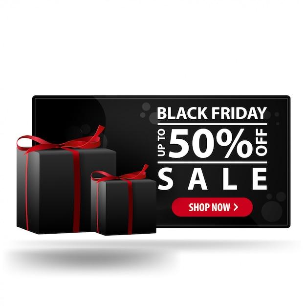 Oferta de viernes negro, hasta 50% de descuento. banner de descuento 3d moderno negro con regalos Vector Premium