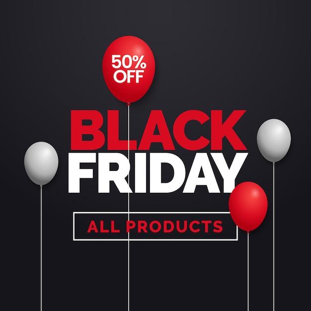 Oferta de viernes negro 50% de descuento en todos los productos Vector Premium