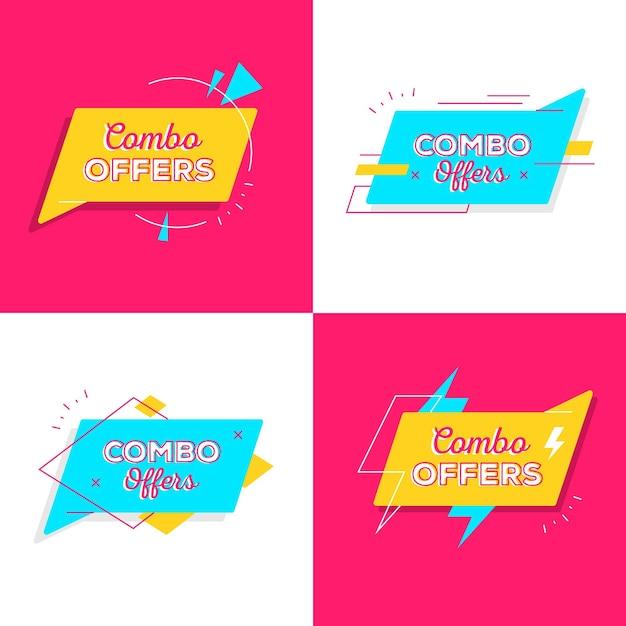 Ofertas combinadas - concepto de etiquetas vector gratuito