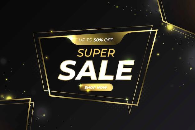 Ofertas de fondo negro con líneas doradas en venta vector gratuito