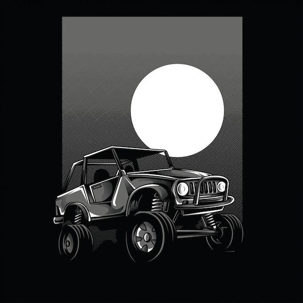 Offroad car moon view en blanco y negro ilustración Vector Premium