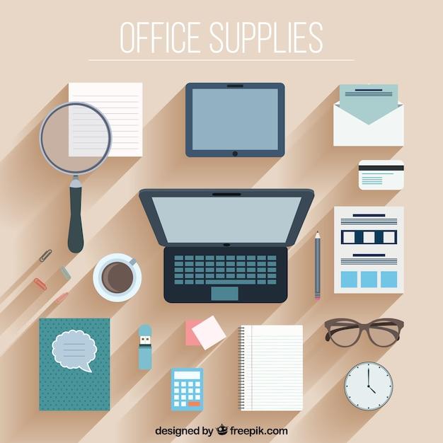 Oficina colección de accesorios en diseño plano vector gratuito