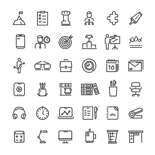 Oficina y colección de iconos de gestión del tiempo. Vector Premium