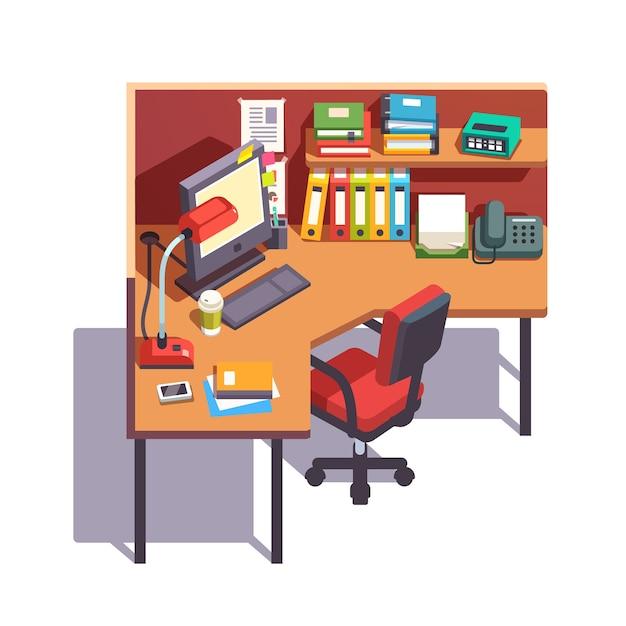 Oficina cub culo escritorio de trabajo con ordenador de - Escritorio de trabajo ...