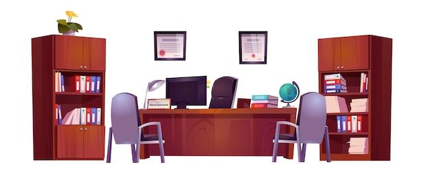 Oficina del director en la escuela para reunirse y hablar con maestros, alumnos y padres vector gratuito