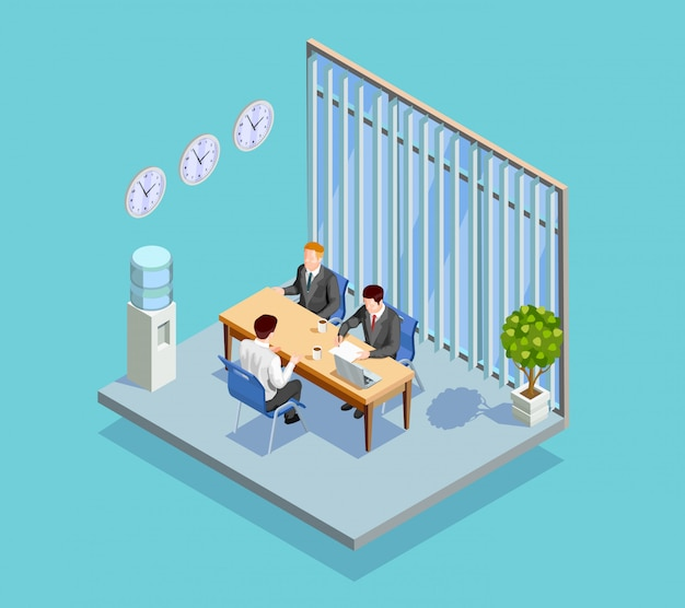 Oficina de empleo entrevista composición vector gratuito