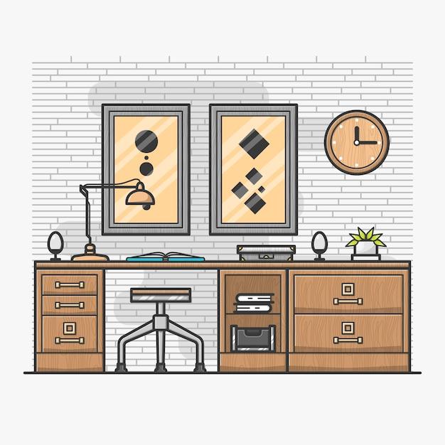 Oficina en casa moderna descargar vectores premium for Casa moderna vector