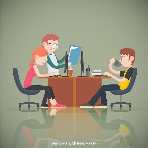Oficina de jóvenes trabajadores Vector Premium
