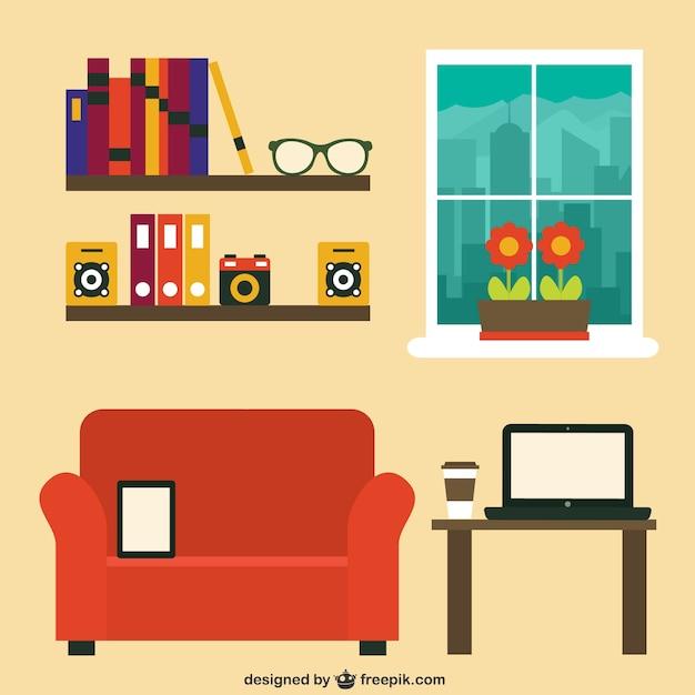 Oficina moderna en el hogar descargar vectores gratis for Casa moderna vector