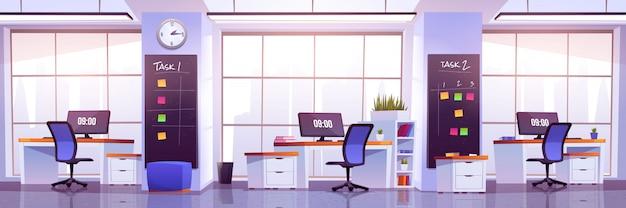Oficina moderna interior, espacio de trabajo abierto vector gratuito