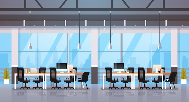 Oficina moderna interior lugar de trabajo escritorio creativo centro de trabajo colaborativo espacio de trabajo paisaje urbano Vector Premium