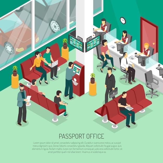 Oficina de pasaporte isométrica ilustración vector gratuito