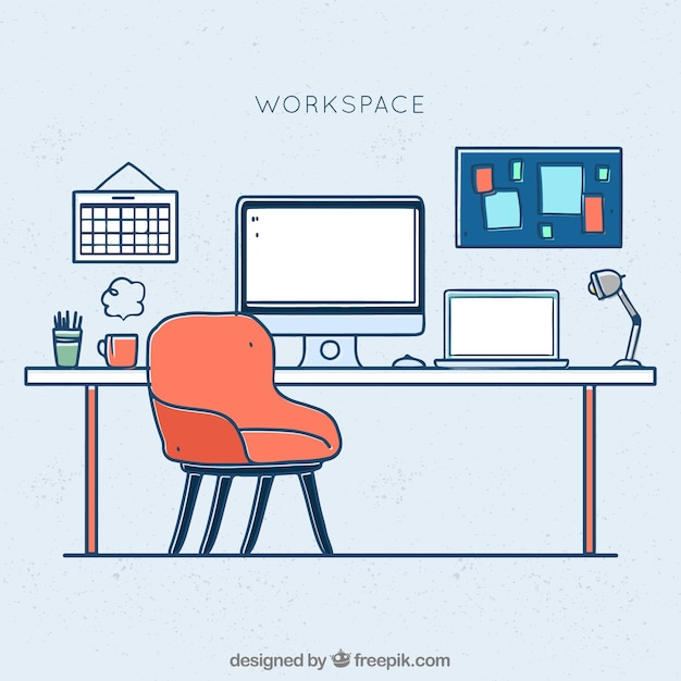 Oficina profesional con estilo de dibujo a mano for Dibujo de una oficina moderna