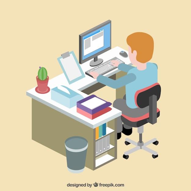 Oficinista en su espacio de trabajo descargar vectores for Que es un oficinista