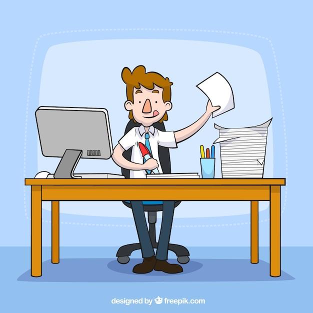 Oficinista ocupado descargar vectores gratis for Que es un oficinista