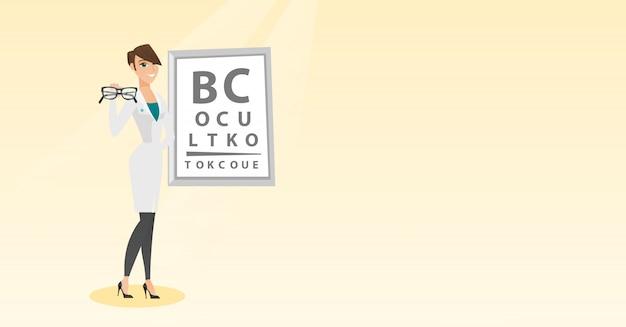 Oftalmólogo profesional con anteojos. Vector Premium